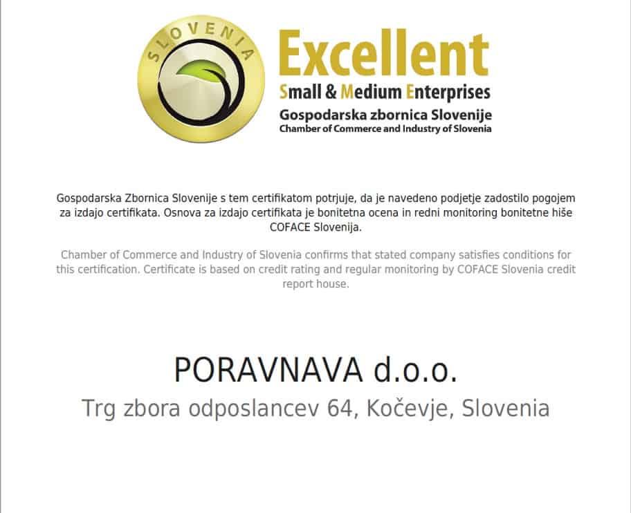 poraVnava d.o.o., prejemnica še enega prestižnega certifikata 1