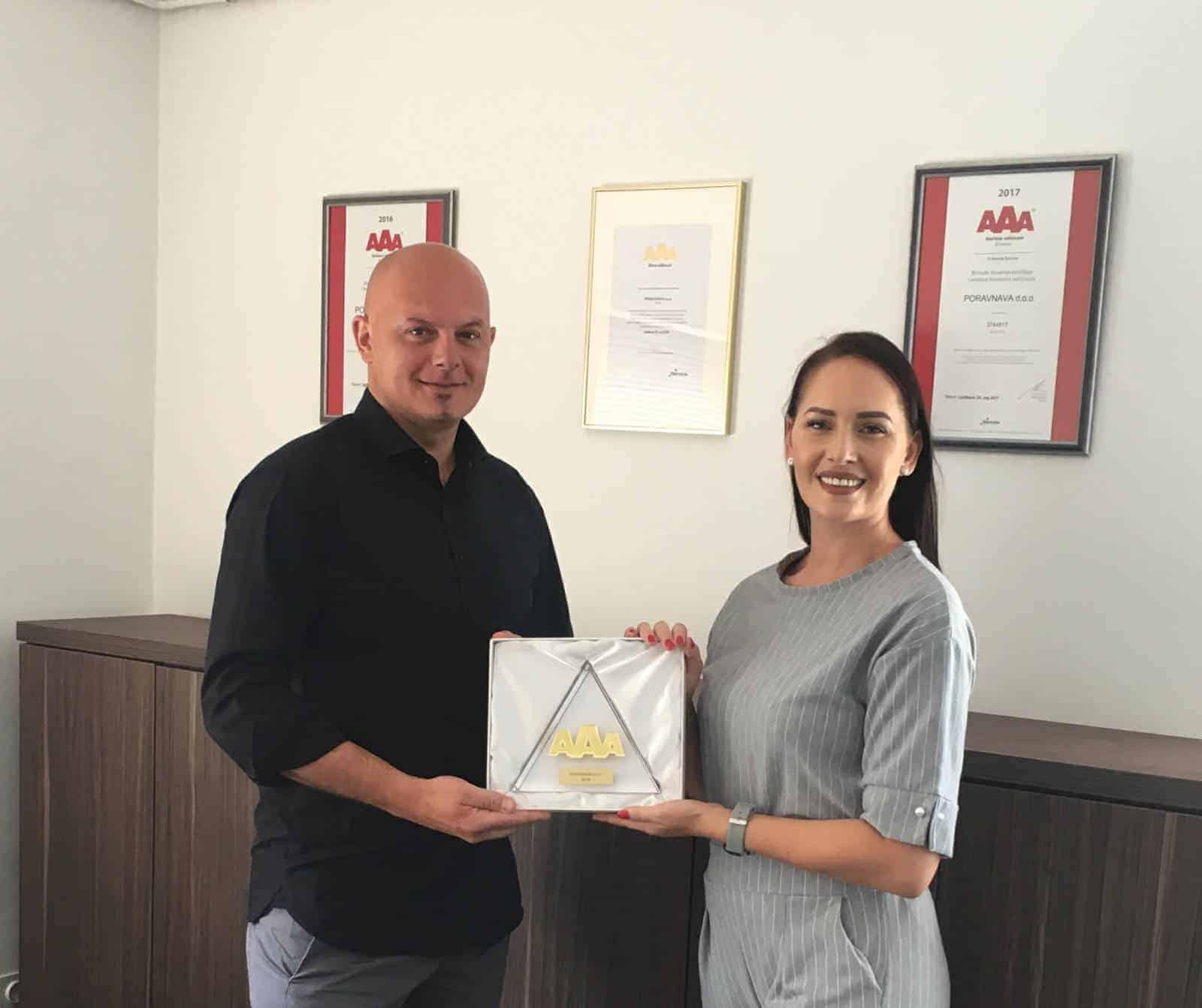 poraVnava d.o.o. nagrajena z Zlato Boniteto Odličnosti – smo dokazano najboljše odškodnisko podjetje v Sloveniji! 1